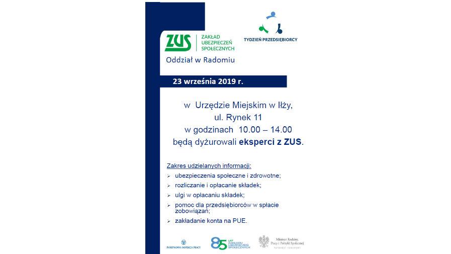 Eksperci z ZUS w ramach Tygodnia Przedsiębiorcy w Urzędzie Miasta w Iłży